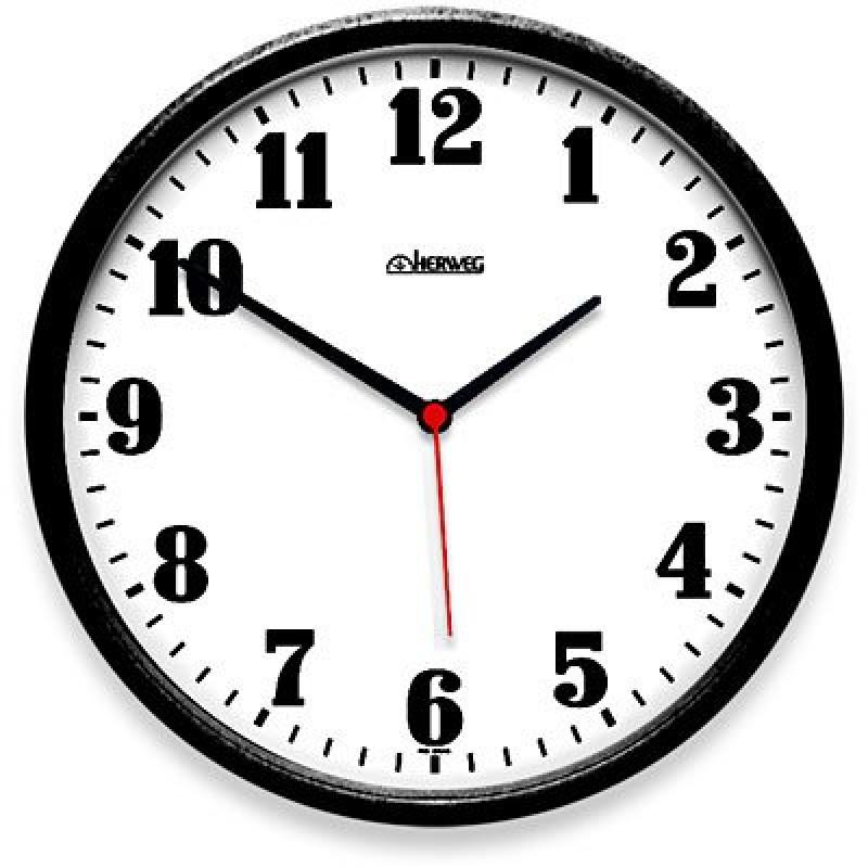 Relógio de Parede 26cm plástico preto 6126-034 Herweg CX 1 UN